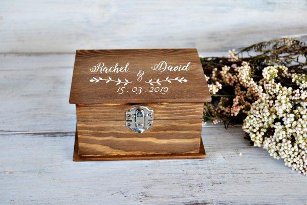 Porta alianzas madera personalizada boda