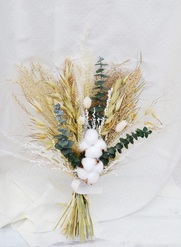 Cotton Dried Bridal Bouquet
