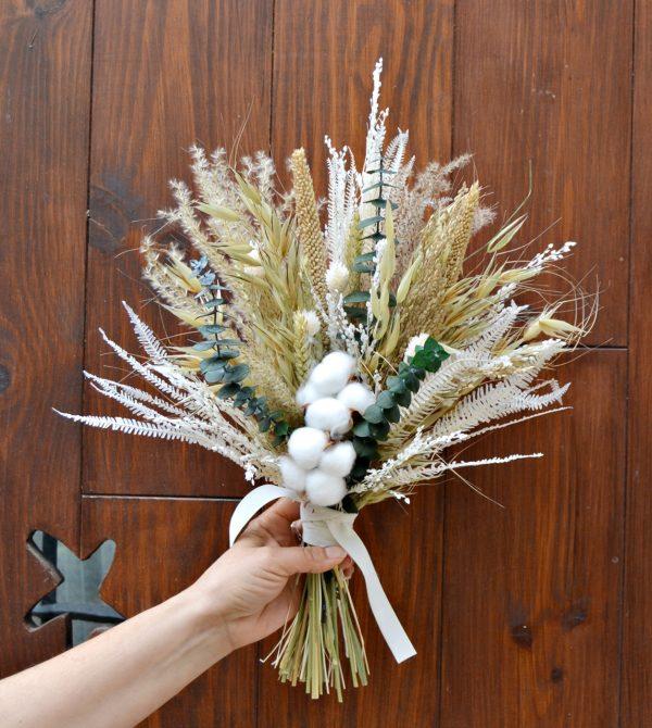 bouquet de mariée fleur en coton