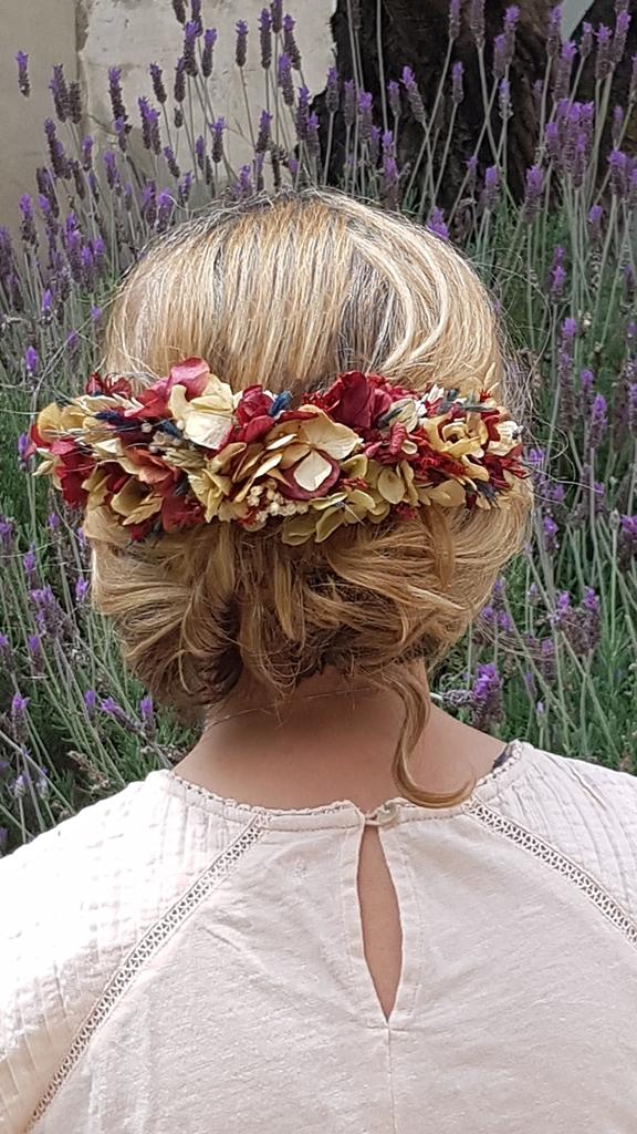 media corona flores preservadas