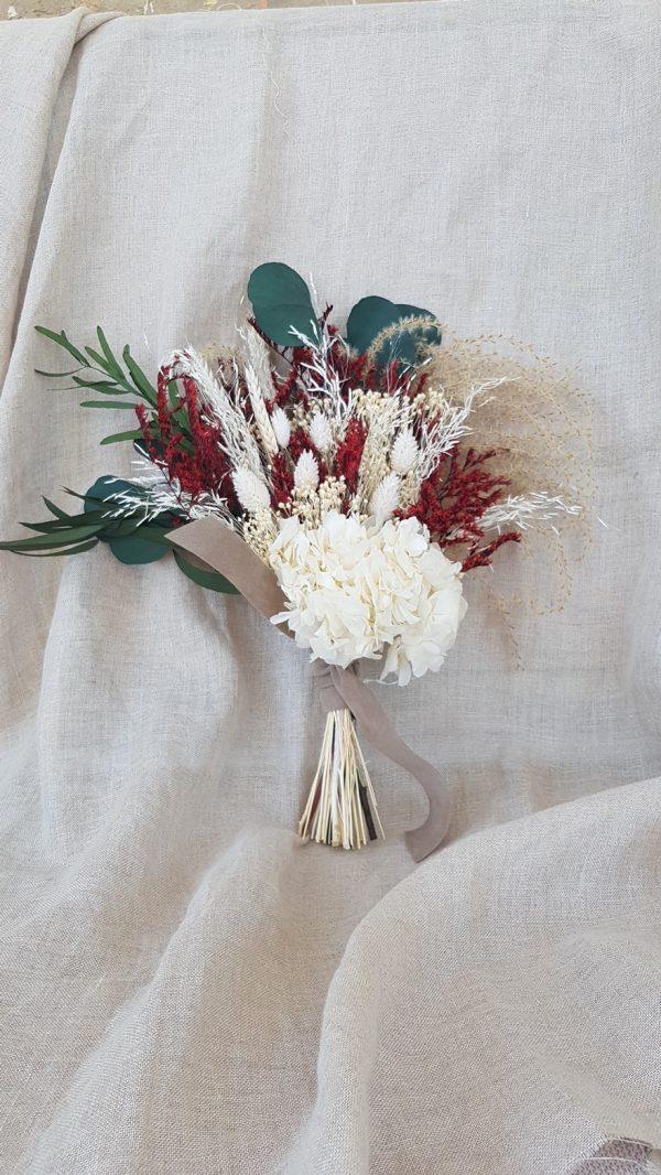 ramo novia blanco y granate